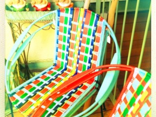 Chaise africaine, tressage kenté multicolore